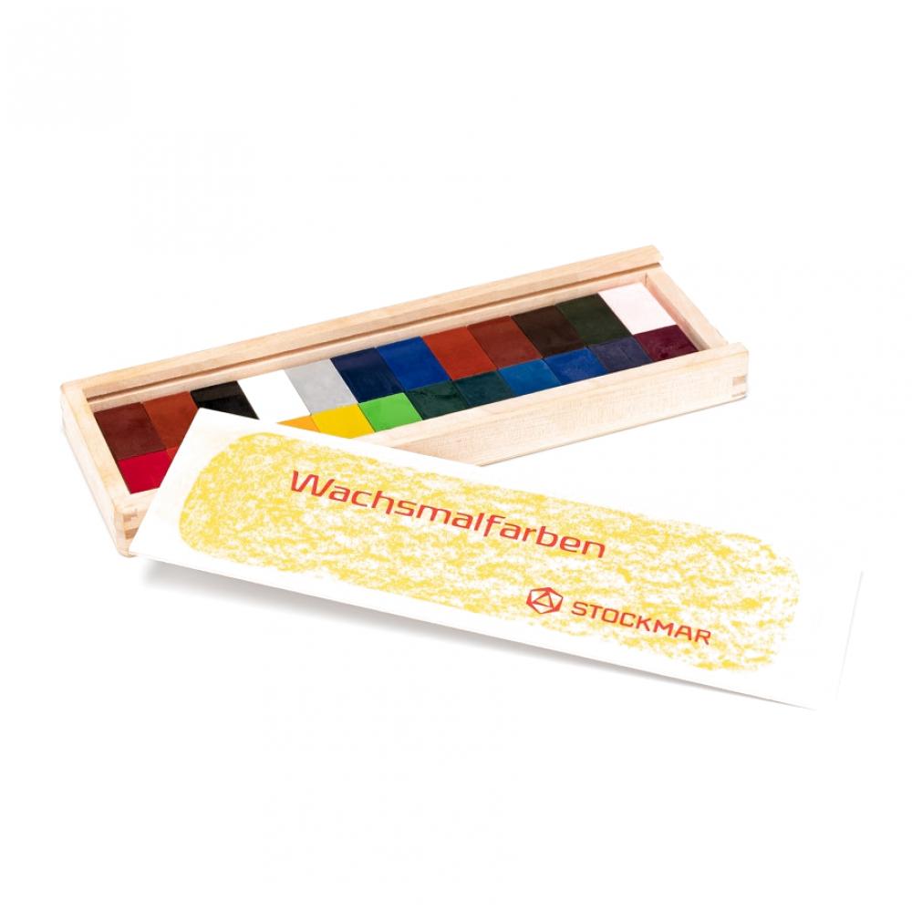 Stockmar - bivoksfarver - 24 blokke i trææske