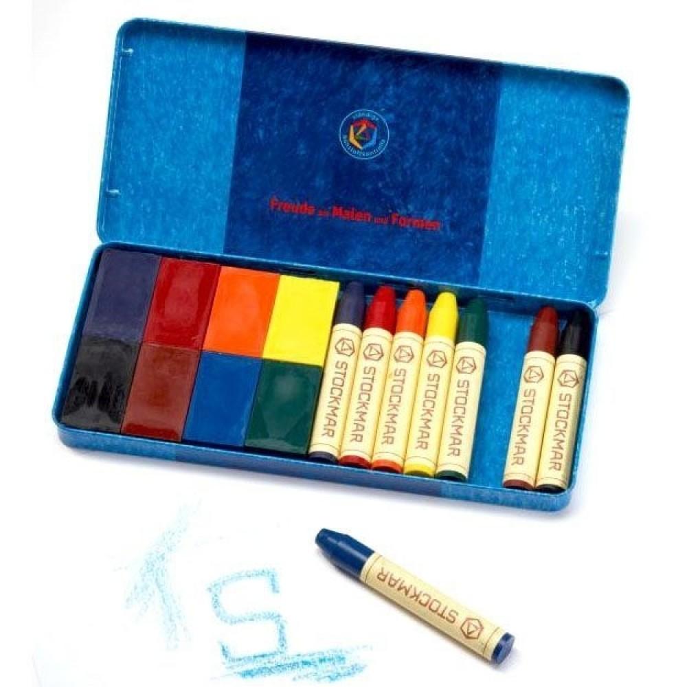 Stockmar - bivoksfarver - 8 blokke & 8 stifter