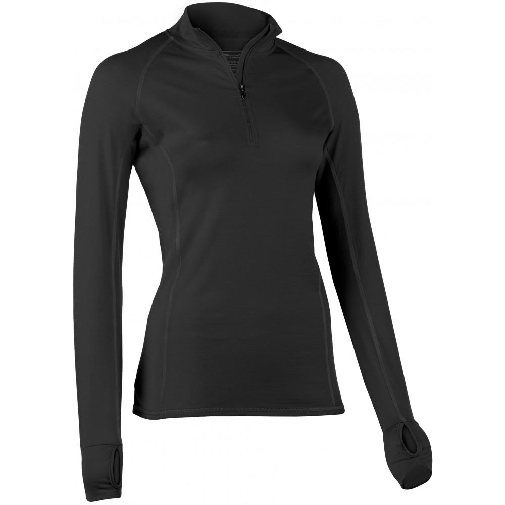 Engel Sports - dame - langærmet bluse med lynlås - slim fit - sort