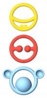 Moluk - bideringe i silicone - rød-gul-blå