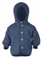 Engel - jakke med hætte i økologisk uldfleece - blå melange