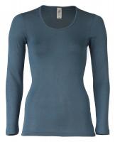 Engel - dame langærmet t-shirt - uld & silke - atlantic
