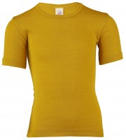Engel - kortærmet bluse - uld & silke - safran