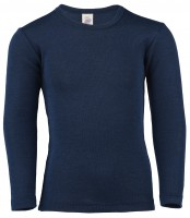 Engel - langærmet bluse - uld & silke - marine