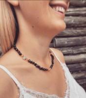 Rav halskæde - voksen - cherry & månesten
