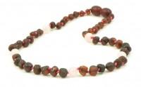 rav halskæde - større børn - mørk rav & quartz