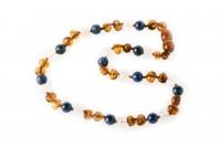 rav halskæde - baby & barn - rav/hvid agat/lapis lazuli