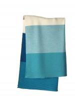 DISANA - babytæppe - økologisk uld - lagoon/blå stribet