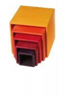 Grimms - stabelkasser - gul/orange/rød - 5 dele