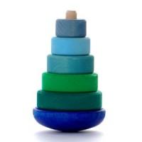 Grimms - 'vippe' stabeltårn - blå & grøn