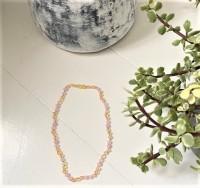 Rav halskæde - voksen - rav-hvid agat & quartz - ekstra lang