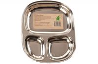 Pulito - tallerken i 3 rum - stål - stor