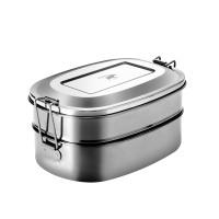 Pulito - madkasse i stål - 2-i-1 - oval