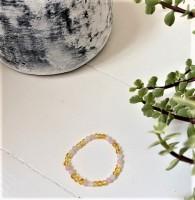 rav armbånd - voksen - rav-hvid agat & quartz - 20 cm.
