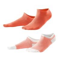 Living Crafts - 2-pak sneakers strømper - koral og koralstribede