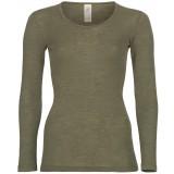 Engel - dame langærmet t-shirt - uld & silke - olive
