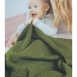 DISANA - babytæppe økologisk uld - honeycomb - grå