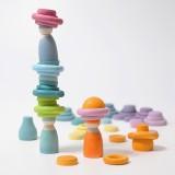 Grimms - bygge ringe - 24 stk. - pastelfarver