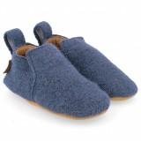 Haflinger - indesko - hafli - uld - naturgummisål - blå