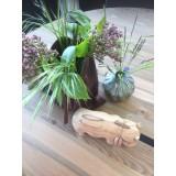 Unika flodhest - håndlavet i bæredygtigt teaktræ med kernelæder pose og kurv