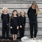 Snork Copenhagen - natkjole - black melange m. fersken kant