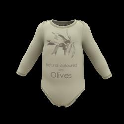 Zuztainia - langærmet body - olive med print