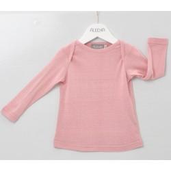 Alkena - langærmet bluse - bourette silke - støvet rosa