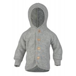 Engel - jakke med hætte i økologisk uldfleece - grå