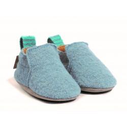 Haflinger - indesko - hafli - uld - naturgummisål - lys blå