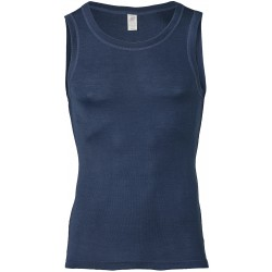 Engel - herre ærmeløs undertrøje - uld & silke - marineblå