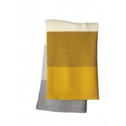 DISANA - babytæppe - økologisk uld - curry/gold stribet