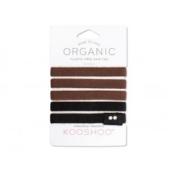 Kooshoo - økologiske hårelastikker - 5 stk. - sort & brun