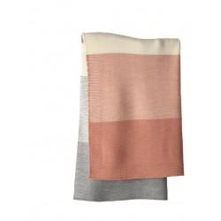 DISANA - babytæppe - økologisk uld - rosé/grå stribet
