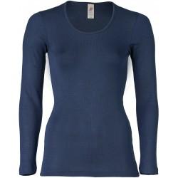 Engel - dame langærmet t-shirt - uld & silke - marineblå