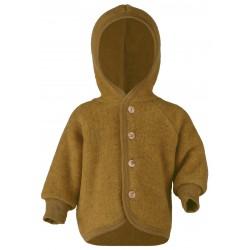 Engel - jakke med hætte i økologisk uldfleece - safran