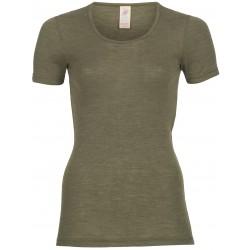 Engel - dame kortærmet t-shirt - uld & silke - olive