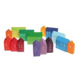 Grimms - håndlavede huse i flere størrelser - 15 stk.