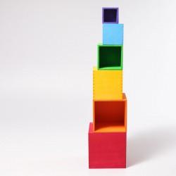 Grimms - store stabelkasser - 6 dele - klassiske farver