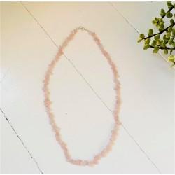 Rose quartz halskæde - voksen - chips - ekstra lang