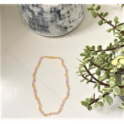 Rav halskæde - voksen - rav-hvid agat & quartz