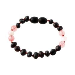 Rav armbånd - baby & barn - raw cherry-månesten-rosa quartz
