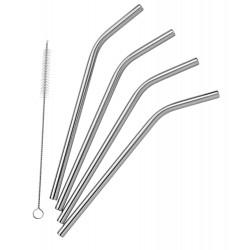 Pulito - stål sugerør - bøjede - 4 stk. incl. børste