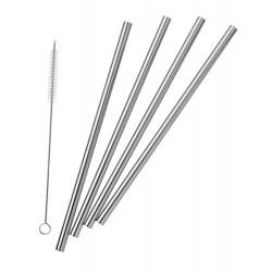 Pulito - stål sugerør - lige - 4 stk. incl. børste